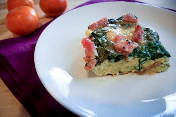 Ham spinach egg casserole piece