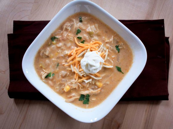 white chicken chili bowl